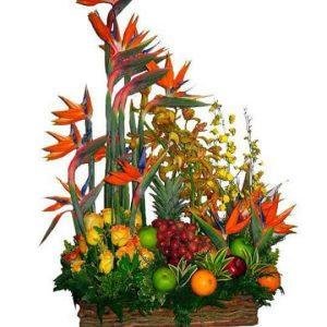 Arreglo Frutero canasto con rosas amarillas confeti, aves del paraíso y orquídeas sin vidrios