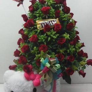 Arreglo cristal Hello Kitty y rosas rojas