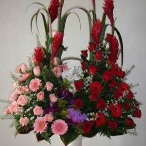 Arreglo jardinera ginger, rosas rojas y rosadas